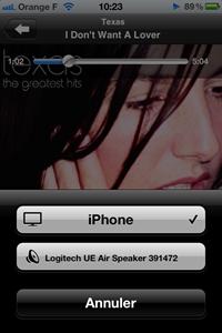 Ecoute de la musique en sans fil via AirPlay Apple