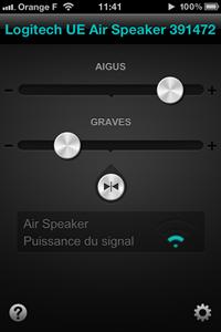 Réglages de l'enceinte sans fil Air Speaker de Logitech