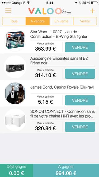 Liste des objets à vendre et gérés par l'application Valoo