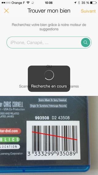 Scan du code barre du produit à estimer