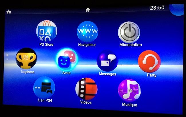 L'interface PS Vita sur le téléviseur du salon