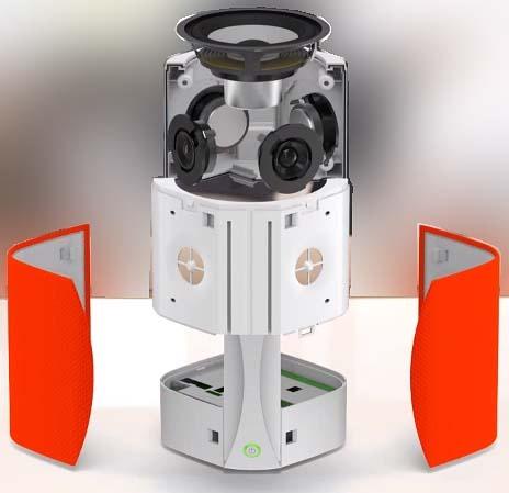 Enceinte à 360° avec ses 4 HP et son caisson de basse