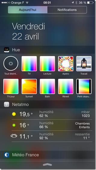 Exemple de widgets sous iOS pour les lampes Philips Hue