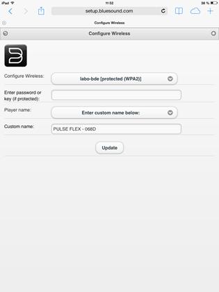 Affichage dans Safari du panneau de configuration accessible depuis l'adresse setup.bluesound.com