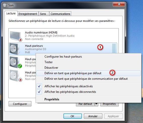 Sélection du DAC D3 comme carte son par défaut sous Windows