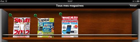 Ma bibliothèques de magazine en version électronique sur iPad