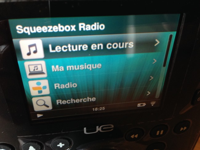 Le menu habituel Squeezebox