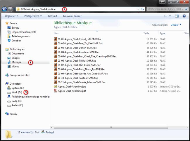 L'emplacement des fichiers et des dossiers musique de l'ordinateur Windows