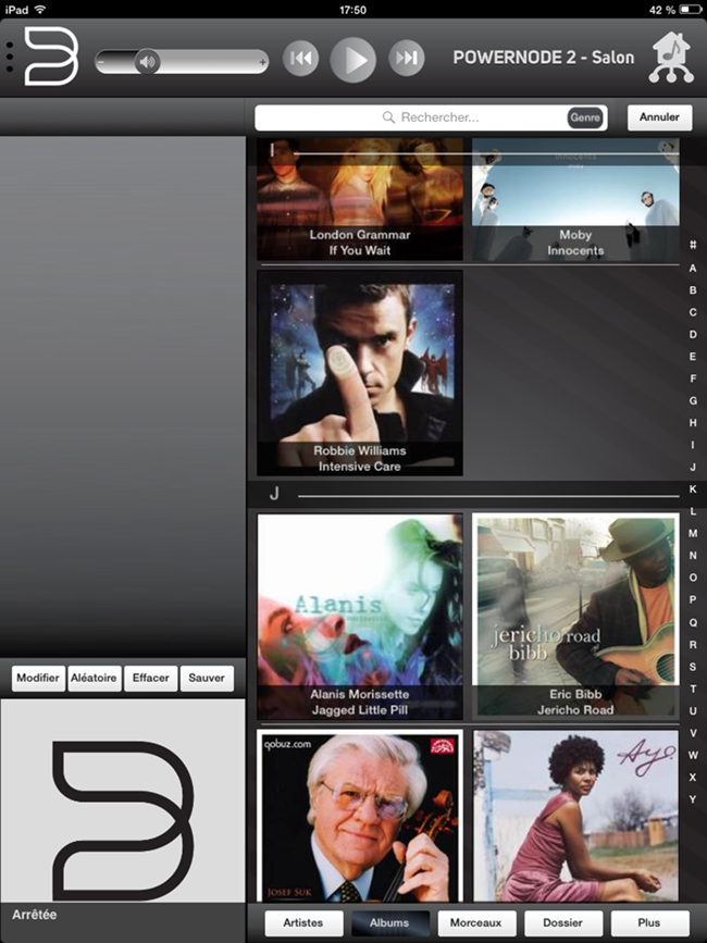 La totalité des musiques stockés sur l'ordinateur dans le ou les dossiers partagés s'affiche dans l'application Bluesound