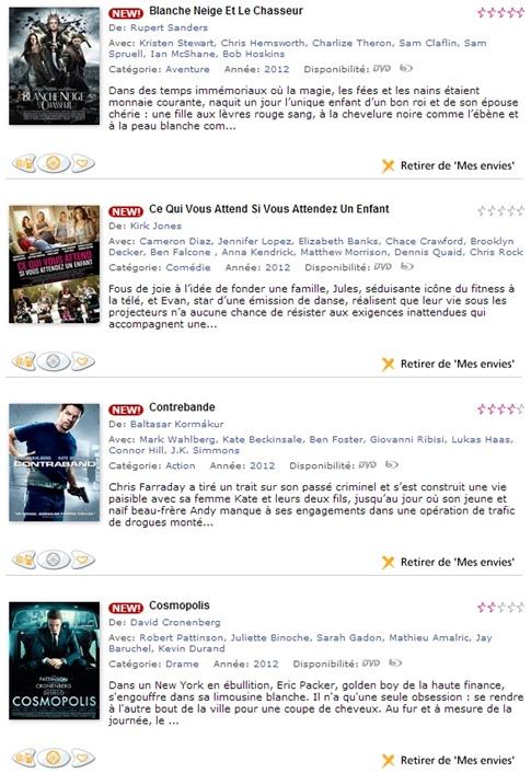 Liste de préférences de disques Blu-ray à louer chez Hollystar
