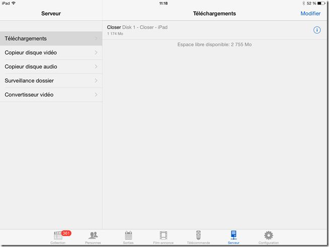 Stockage des films dans la mémoire interne de l'iPad