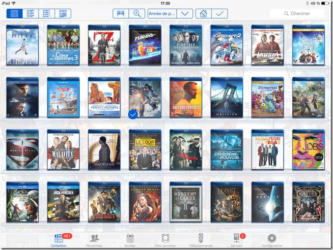 L'interface My Movies en version blanc