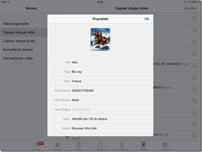 Affichage des informations d'un disque Blu-ray copié sur le serveur