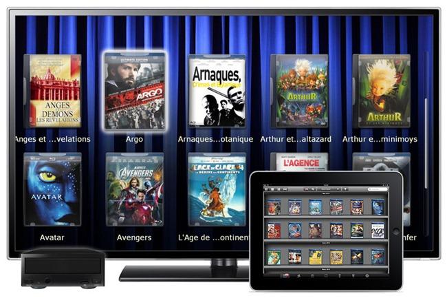 Filmothèque dématérialisée avec un serveur audio-vidéo, un lecteur multimédia et l'application My Movie sur iPad