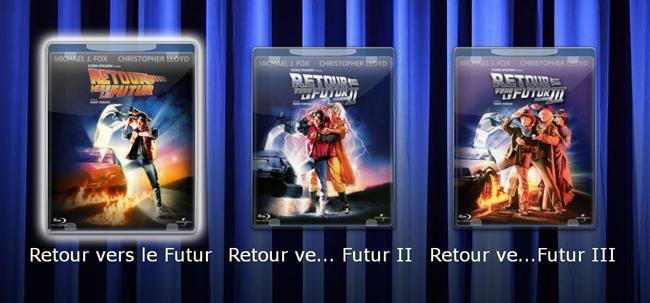 En sélectionnant à la télécommande le coffret, les 3 films apparaissent.