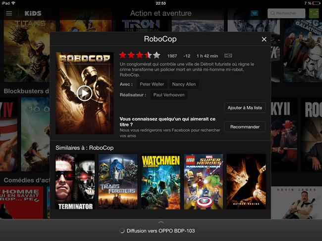 Choix du film directement sur l'iPad pour une lecture sur le home cinéma