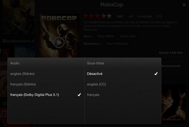 Les différentes pistes audio proposés pour un film