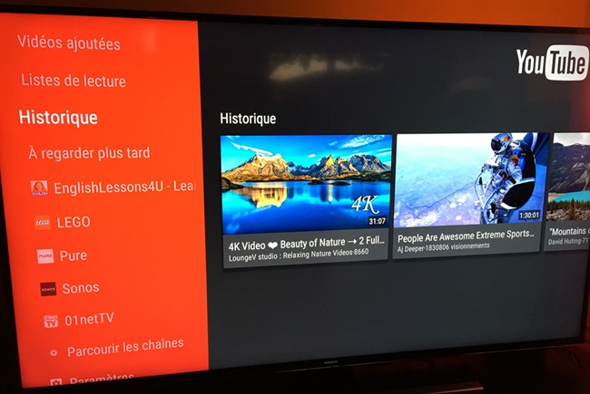 L'interface YouTube sous Android TV