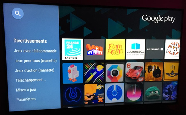Le catalogue des applications Android du Nexus Player
