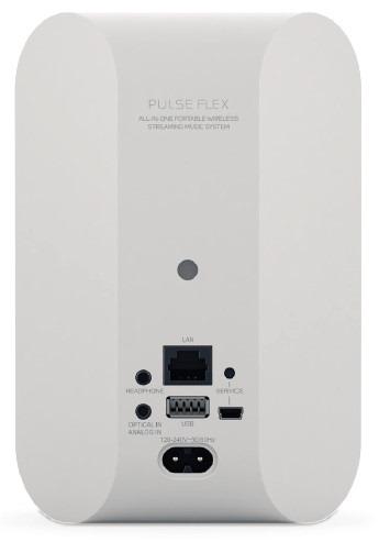 Bluesound PULSE FLEX une mini enceinte réseau wifi et sans fil Bluetooth, les connectiques audio