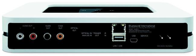 Les connectiques audio du réseau Bluesound NODE