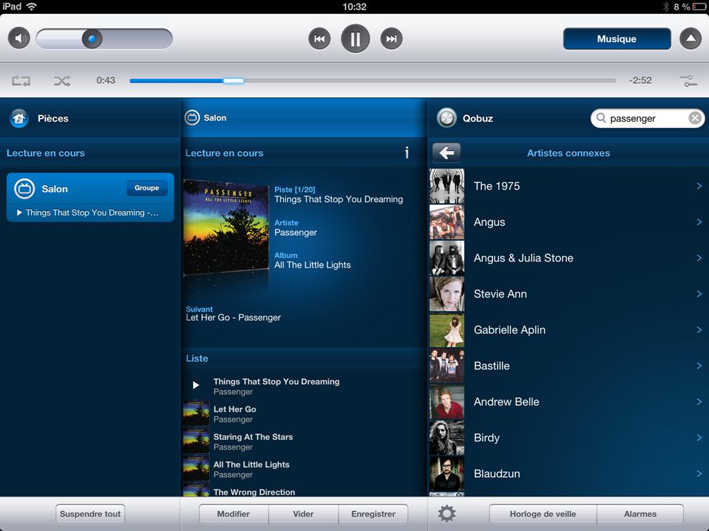 Qobuz dans l'application Sonos pour iPad