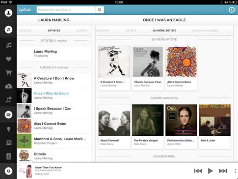 Navigation simple dans toute la collection de musique en ligne