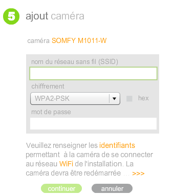 Configuration de la connexion par le réseau WiFi