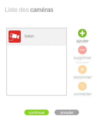 Liste des caméras disponibles