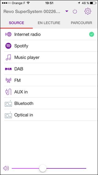 Application UNDOK pour le choix de sources musicales