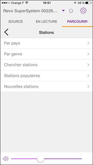 Navigation pour la sélection de radios par Internet