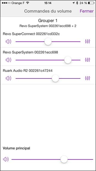 Gestion indépendante ou globale du réglage sonore des 3 appareils connectés