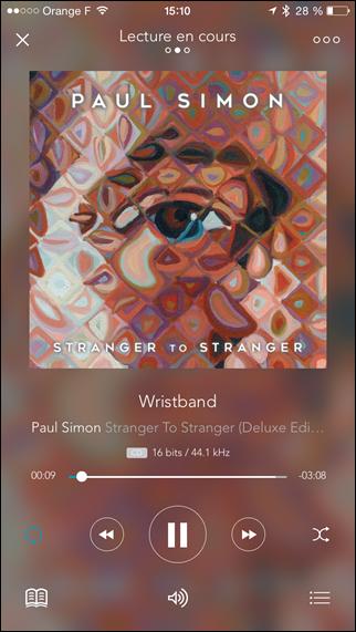 Ecoute d'une source sonore depuis l'iPhone et l'application Qobuz