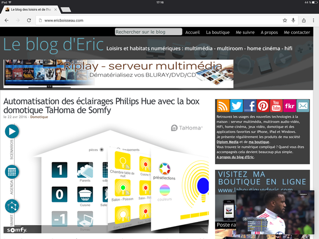 Inscrutation du flux vidéo sur l'iPad Pro