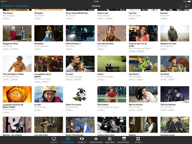 Les films à la demand de Canal+ et de Canal Sat sur mon iPad
