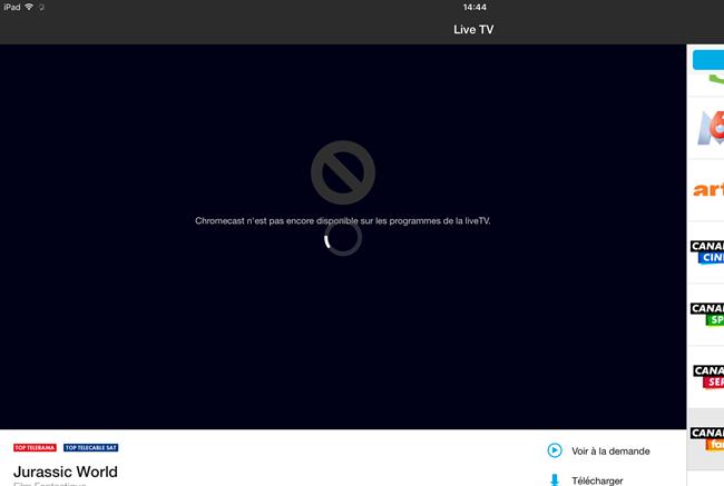 pas de flux vidéo pour la télévision en direct via Chromecast