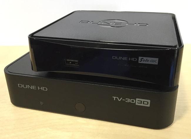 Comparaison des deux boitiers : le Dune HD 303D et le Dune HD Solo 4K