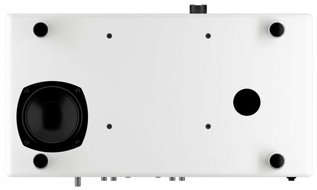 Vue de dessous avec le caisson de basses intégré et son haut-parleur