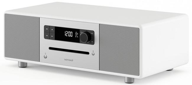 Poste de radio et mini-chaine HiFi Bluetooth en finition laquée blanc
