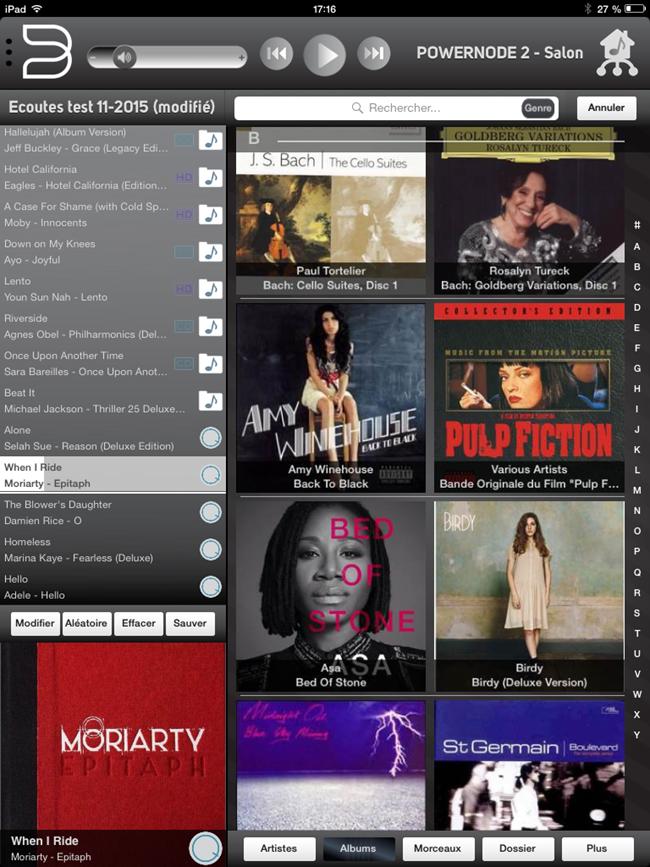 Interface Bluesound pour la navigation dans les albums musicaux