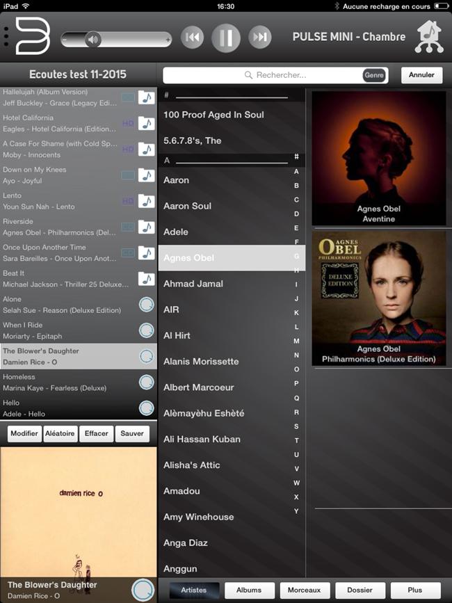 Navigation dans la collection musicale par artistes