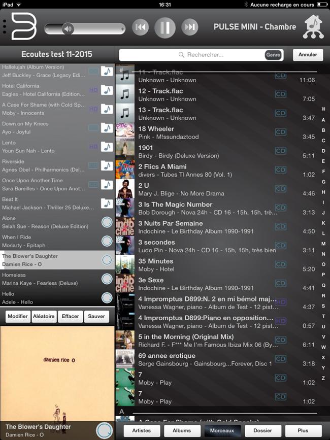 Liste de tous les morceaux musicaux de la collection numérique