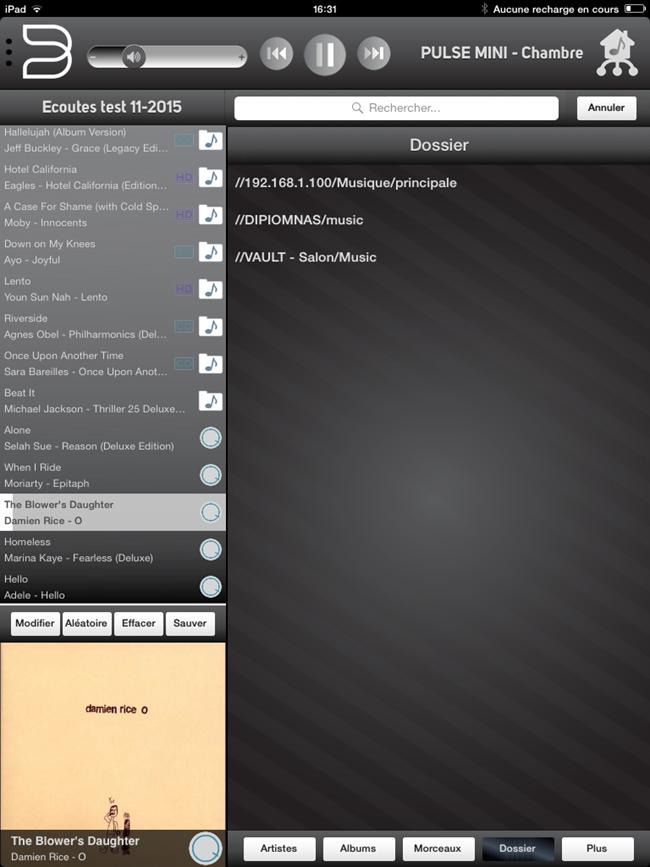 Accès aux musiques présentes dans des dossiers sur un ordinateur ou un serveur sur le réseau