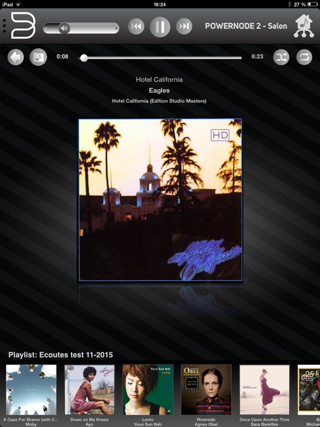 Affichage graphique de la playlist en cours d'écoute