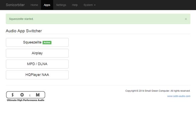 Interface Web de paramétrage du SOtM sMS-100