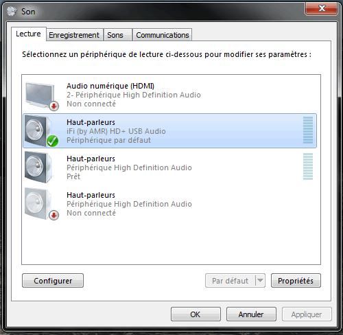 Paramétrage pour utiliser le DAC USB externe comme sortie audio par défaut