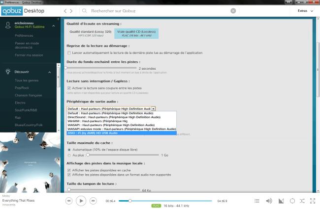 Choix du DAC externe USB comme sortie audio directement dans l'application Qobuz