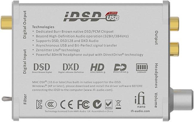 Les caractéristiques techniques et audio du DAC nomade iDSD Nano de chez iFi Audio
