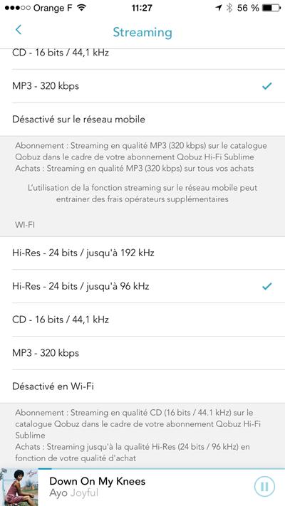 Les bon réglages de l'application Qobuz pour les fichiers lus en streaming ou en mémoire