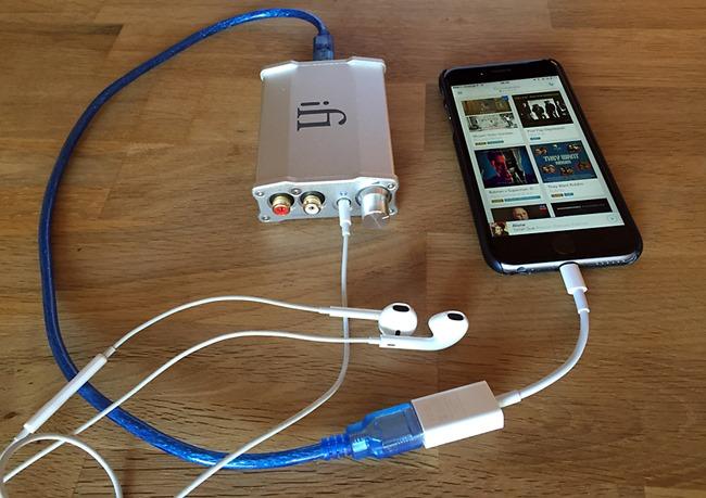 Test du DAC iFi Audio iDSD Nano sur un iPhone avec les écouteurs standards Apple
